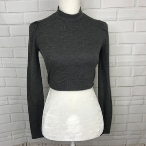 Forever 21 Crop Top Knit Charcoal Top Long Sleeve